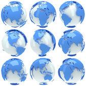 Earth planet globe set — Stock Photo