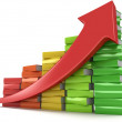 Colored books graph with red arrow — Stock Photo #53251531