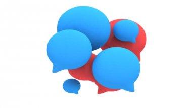 Group of 3d blank speech bubbles pulse animation — Vídeo stock
