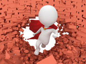 3d brave superhero with red cloak flying — Stockfoto