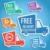 Free delivery, fast delivery icons set. Vector. — Stock Vector