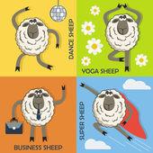 Sheep colorful cartoon concepts set. Vector. — Stock Vector