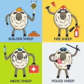 Sheep professional character vector set — Stock Vector