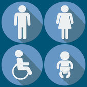 Set of 4 restroom icons. Vector. — Stock Vector