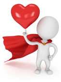 Brave superhero lover with big red heart — Stock Photo