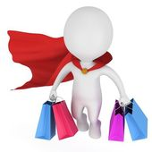 Brave superhero shopper with red cloak — Stock Photo