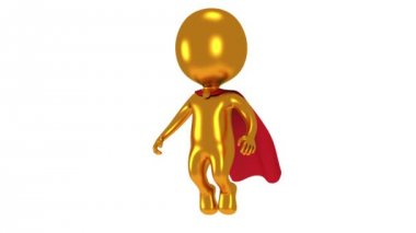 Gold superhero with red cloak fly above. — Stock Video