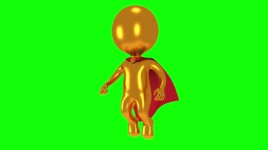 Gold superhero with red cloak fly above — Stock Video