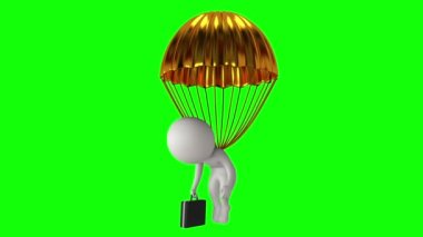 Poor white businessman under gold parachute — Stock Video