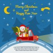 Christmas and New Year greeting card with delivery van. Vector. — Stock Vector #62285467