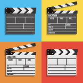 Cinema clapperboard vector icons — Stock Vector