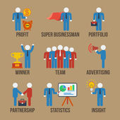 Set of 9 businessman icons. Vector. — Stock Vector