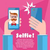 Selfie poster with hipster holding smartphone vector. — Stock Vector