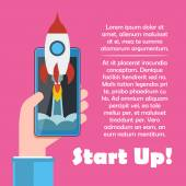 Cellphone in hand with spaceship. Start up vector concept. — Cтоковый вектор