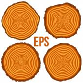 Vector tree rings background and saw cut tree trunk — Stock Vector
