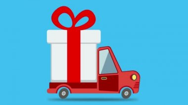 Gift delivery van rides on. — Stock Video