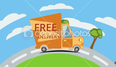 Free delivery van on road. — Stock Video