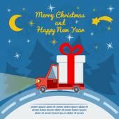 Gift delivery van in Christmas eve. — Stock Vector