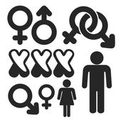 Gender web and mobile icons set. Vector. — Stock Vector