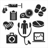 Medical and healthcare web and mobile icons. Vector. — Stock Vector