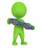 3d man with DNA chain on white. — Stock Photo