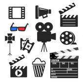 Set of cinema web and mobile icons. Vector. — Stock Vector