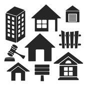 Uppsättning av fastigheter universal web och mobila vektor ikoner — Stockvektor