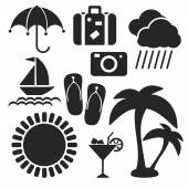 Set of summer web and mobile icons. Vector. — Stock Vector