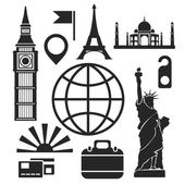 Travel web and mobile icons. Vector. — Stock Vector