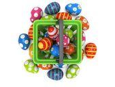 Easter Eggs in shopping basket — Stock Photo