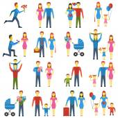 Family stylized vector icons set. — Stock Vector