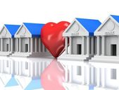 Row of bank buildings and heart with reflection. 3d render. — Stock Photo