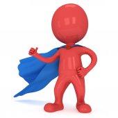 Brave superhero with blue cloak — Stock Photo