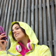 Female athlete texting message on smartphone — Stock Photo #59003649