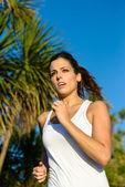 Female runner on summer outdoor — Foto Stock