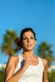 Woman running on summer outdoor — Stock Photo