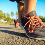 Running footwear on outdoor summer training — Stock Photo #60048769
