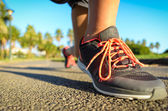 Running footwear on outdoor summer training — Stock Photo