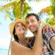 Couple on caribbean travel taking selfie photo — Stock Photo #66077459