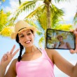 Tropical summer vacation selfie — Stock Photo #66078095