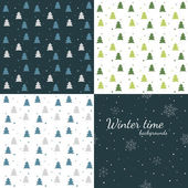 Winter time - set of seamless winter backgrounds — Stock Vector