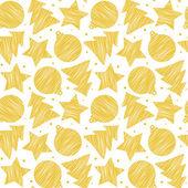 Gold scribble pattern on white. Vector illustration. Seamless. — Stock Vector
