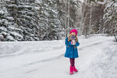 Six year old girl in a blue coat and a pink hat and boots grimacing in the winter forest — Stock Photo