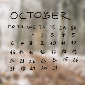 Handwritten calendar for the month of October — Stock Photo