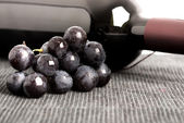 Black grapes and a bottle of red wine — Stock Photo