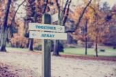 Rustic wooden sign with the words Together- Apart — Stock Photo