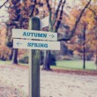 Rustic wooden sign with the words Autumn - Spring — Stock Photo #64648923