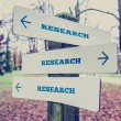 Rural signboard with the word Research with arrows pointing in t — Stock Photo #65723631