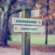 Rural signboard with two signs saying - Changeable and Constant — Stock Photo #66194429
