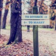 Park Signpost for To Divorce and To Marry Concept — Stock Photo #74196455